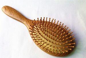 Natural Ashtree Wooden Handle Massage Hairbrush Bamboo Pin Brush Health Comb