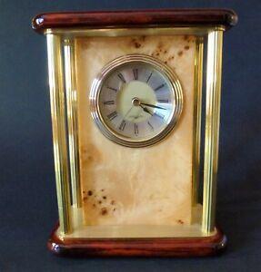 Jorg Gray Birdseye Maple and Mahogany with Brass Quartz Desk Clock