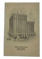 Vintage Postcard Hotel Park Plaza New York City 50 West 77th Street (Unposted)