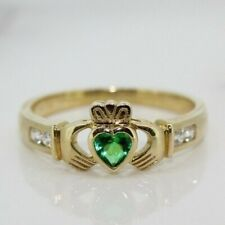 9ct Yellow Gold Emerald Claddagh Ring (Size Q, R)