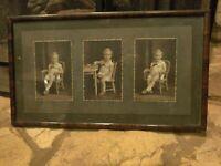 Vintage antique Framed Cabinet Photos Of 4 Year Old Little Boy