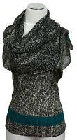 Schal scarf écharpe 100% Wolle bestickt embroidered laine brodé Pailletten
