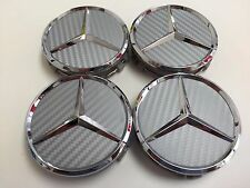 4 PCS 75mm/ 3 INCH CARBON SILVER WHEEL BADGE CENTER HUB CAPS FOR MERCEDES BENZ
