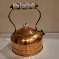 Vtg Copper Kettle Tea Pot Delft Porcelain Handle Nickel Lined Farmhouse Decor