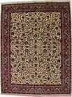 Floral Design Semi Antique Cream 10X13 Signed Oriental Rug Hand-Knotted Carpet