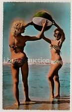 Bikini Girl w Beach Ball/RAGAZZA M ACQUA PALLA * VINTAGE FRENCH 50s Photo PC