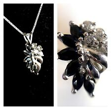 Sterling Silver Pendant Ring & Chain With Sapphires & Cubic Zirconia Reduced 50%