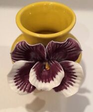 "Vintage Gold Ceramic Art Pottery Vase w/Big Purple & White Flower 5"" Tall"