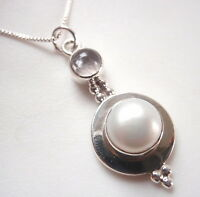 Cultured Pearl and Rose Quartz 925 Sterling Silver Pendant Corona Sun Jewelry
