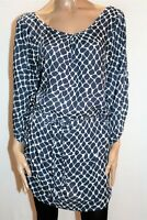 Mon & Jong Brand Blue White Belted Tunic Top Size L #AN02