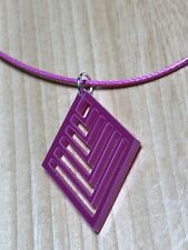 Laser cut Acrylic pendant on waxed Pink cotton cord necklace Free P&P