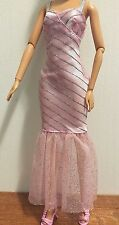 Barbie Doll Clothes- Pink and Silver Sparkling Evening Dress with High Heels EUC