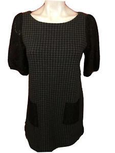Anthropologie Postmark Black Houndstooth Lace Pocket Mini Dress Size Small -361
