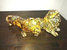 Two Vintage La Vie Lion Ceramic Figurines Animal Print Patchwork Lavie