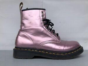 Dr. Martens Women's 1460 Vegan Pink Metallic Goldmix Combat Boots 25279 Size 8