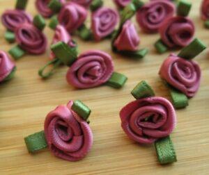 100 x Mini Satin Ribbon Flowers Roses - Wedding Decor Sewing Craft - UK Seller