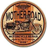 Mother Road Motorcycle Repair Metal Tin Sign Round Harley Art WALL home DECOR