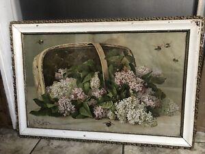 Antique Litho PAUL de LONGPRE Framed Print Lilacs & Bees Dated 1899