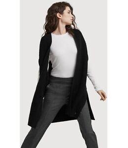 Kit and Ace Ladies Black 100% Cashmere Vest Sleeveless Cardigan XS S M L $410