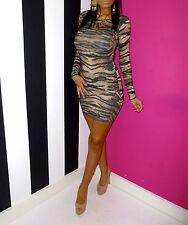 Topshop Tiger Animal Print Long Sleeve Bodycon Dress Long Top Tunic Size 10