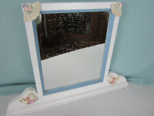 Vanity Mirror in Shabby Wood  Frame  Fans Love Birds Hearts FlowersTabletop EPOC