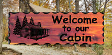 Welcome to our Cabin Custom Carved Cedar Wood Sign -  Rustic Plaque Home Decor
