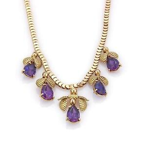 Amazing10 Carats Amethyst 18k Rose & Green Gold 5 Floral Drop Charm Necklace