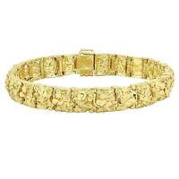 18K Gold Plated Nugget Bracelet 12 Mm Wide - Made In USA - LIFETIME WARRANTY