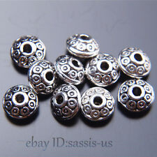 100pcs 7mm Charms Spacer Beads Round circle Tibet Silver DIY Jewelry  Top  A7513