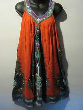 Halloween Hippy Costume Dress Fits M L XL 1X Orange Mini Dress V Neck NWT 661