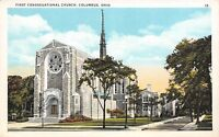 Columbus OH 444 E Broad St: First Congregational Church (UCC) 1920s Postcard