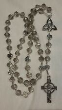 Stunning Celtic Cross silver crystal glass beaded Rosary beads with Irish knot