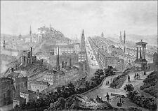 ÉCOSSE - EDIMBOURG vu de CALTON HILL au 19eme siècle - Gravure du 19eme siècle