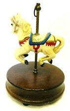 Carousel Music Box Wind Up Revolving White Horse Pony Wood Carnival Vintage