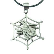 Collier Pendentif homme femme argenté araignée toile acier cristal cordon cuir