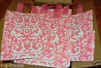 8x5x10  LOT 20 Frosted PINK Plastic Bags Damask Merchandise Gift BAG 8 5 10