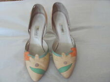 MAURI SHOES MADE IN ITALY Vintage Leather Heel Summer Colors Decorative Art 6 ½
