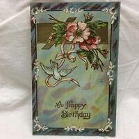 Vintage Postcard Embossed A Happy Birthday Greeting Unused Floral Bird