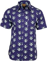 Run & Fly Mens Kitsch Badger Print Short Sleeved Shirt VTG Retro Hawaiian