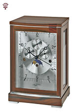 BilliB Lloyd Modern Mantel Clock with Polished Movement, Triple Chime in Walnut