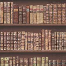 antique bibliothèque Papier Peint Rouleaux - Or Brun - 575208 - Cuir de livres