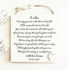 Personalised Father Of The Groom Gift, Wedding Thank You Plaque from Bride W179