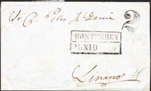 MEXICO, 1850. Cover Monterrey Y&B MN6, Linares