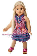 PAISLEY TOP + RUFFLED SKIRT + SHOES for 18 inch American Girl Doll Clothes
