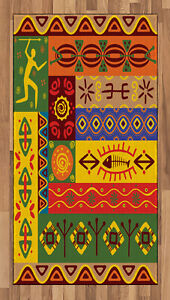 African Tribal Area Rug Flat Woven Accent Rug Home Decoration 2 Sizes Ambesonne