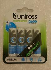 Uniross AA 2600 mAh 4 x Rechargeable Batteries NiMH - HR6, LR6, DC1500, MN1500