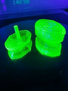 Absolutely Stunning Antique Uranium Glass Ring Holder And Trinket Pot