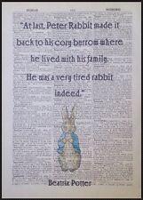 Peter Rabbit Potier De Beatrix Citation Vintage Dictionary Livre Page Imprimé