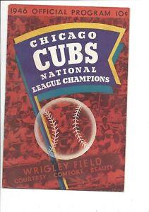 1946 baseball program Philadelphia Phillies Chicago Cubs unscored VG