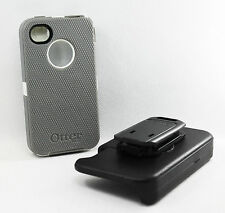 OtterBox Defender Hard Rugged Case for iPhone 4S 4 Holster Belt Clip White/Gray